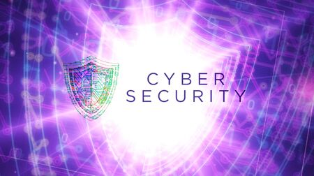 Cyber security futuristic 3D rendering illustration. Abstract digital intro background. Concept of computer protection and internet safety.
