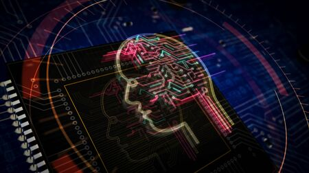 Artificial Intelligence futuristic 3D rendering illustration. Concept of cyber technology, machine learning and cybernetic brain. Abstract digital sign with circuit board and processor on background.