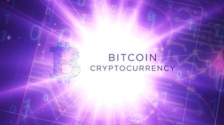 Bitcoin futuristic 3D rendering illustration. Abstract digital intro background. Concept of internet crypto currency, blockchain technology and virtual money.