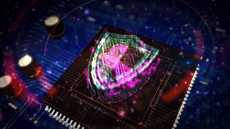 Cyber security futuristic 3D rendering illustration. Concept of computer protection and internet safety. Abstract digital sign with circuit board and processor on background. Stock Photo