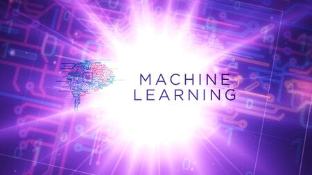 Machine learning futuristic 3D rendering illustration. Abstract digital intro background. Concept of cybernetic brain, artificial intelligence and computer deep learn. Stock Photo