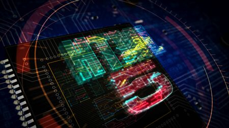 HTML5 symbol futuristic 3D rendering illustration. Concept of programming language, software. coding and internet technology. Abstract digital sign with circuit board and processor on background. Stock Photo