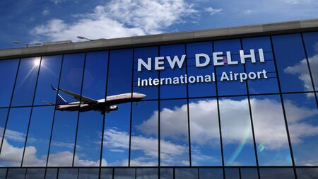 Jet aircraft landing at New Delhi, India 3D rendering illustration. Arrival in the city with the glass airport terminal and reflection of the plane. Travel, business, tourism and transport concept. 스톡 콘텐츠