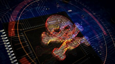 Cyber crime with skull symbol futuristic 3D rendering illustration. Concept of darknet, internet safety, cyber attack and piracy. Abstract digital sign with circuit board and processor on background.