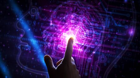 Artificial Intelligence futuristic light sign 3D rendering illustration. Concept of AI, cyber technology, machine learning and cybernetic brain. Hand finger touching modern interface.