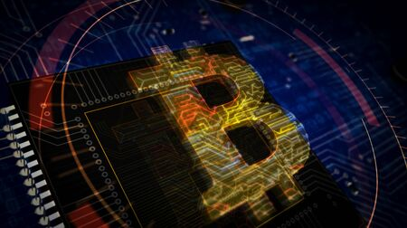 Bitcoin futuristic 3D rendering illustration. Concept of internet crypto currency, blockchain technology and virtual money. Abstract digital sign with circuit board and processor on background. Stock Photo
