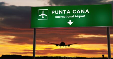 Airplane silhouette landing in Punta Cana, Dominican Republic. City arrival with airport direction signboard and sunset in background. Trip and transportation concept 3d illustration.