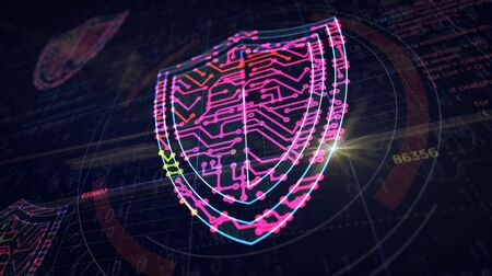 Cyber security with shield symbol project creating. Abstract concept of internet safety, firewall and computer protection 3d illustration. Drawing digital scheme line of futuristic idea.