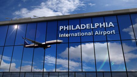 Jet aircraft landing at Philadelphia, Pennsylvania, USA, America 3D rendering illustration. Arrival in the city with the glass airport terminal and reflection of the plane. Travel and tourism concept.