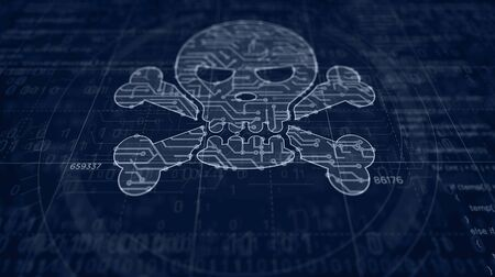 Cyber crime with skull symbol project creating. Abstract concept of darknet, internet safety, cyber attack, theft, virus and piracy 3d illustration. Drawing digital scheme line of futuristic idea. Stockfoto