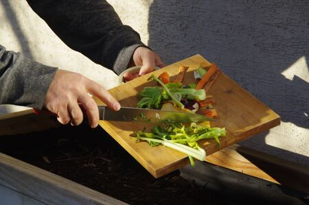 Ecology compost supply - kitchen waste recycling in backyard composter. The man throws leftover vegetables from the cutting board. Environmentally friendly lifestyle. Stock Photo