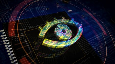 Cyber spying with eye symbol futuristic 3D rendering illustration. Concept of surveillance, cyber spying, hacking and violation of privacy. Abstract digital sign with circuit board and CPU background.