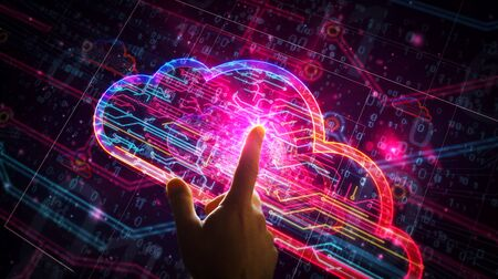 Cyber cloud symbol futuristic 3D rendering illustration. Abstract digital concept of data storage, datacenter, computing, archive and documents safety. Hand finger touching modern interface.