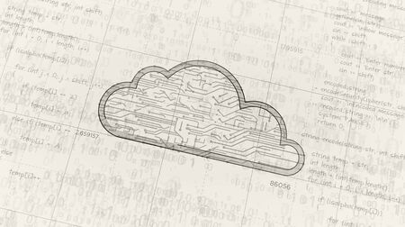 Cyber cloud symbol project creating. Abstract concept of data storage, database, computing, servers, archive and documents safety 3d illustration. Drawing digital scheme line of futuristic idea.