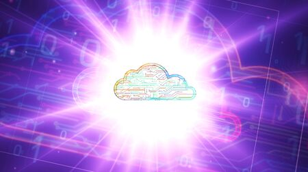 Cyber cloud symbol futuristic 3D rendering illustration. Abstract digital intro background. Concept ofdata storage, computing, datacenter, database, archive and documents safety.