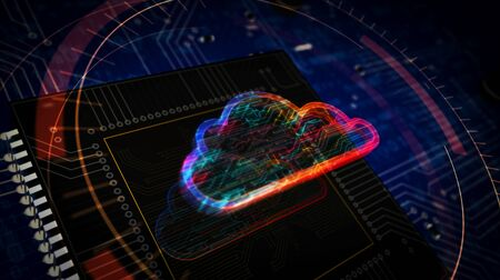 Cyber cloud symbol futuristic 3D rendered illustration. Concept of data storage, computing, database, archive and documents safety. Abstract digital sign with board and CPU background.