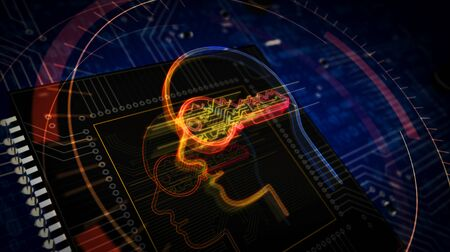 Futuristic cyber privacy key in head 3D rendered illustration. Concept of encryption, coding, ai, digital mind and private data security. Abstract digital sign with board and CPU background. Stockfoto