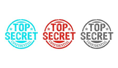 Top secret confidential stamp icons in few color versions. Government, business, legal and non public document  concept 3D rendering illustration. Stockfoto