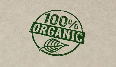 Organic 100 percent stamp icons in few color versions. Ecology, bio, gmo free, natural and healthy diet concept 3D rendering illustration. Stockfoto