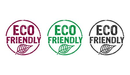 Eco friendly stamp icons in few color versions. Ecology, organic, natural, life style and healthy diet concept 3D rendering illustration.