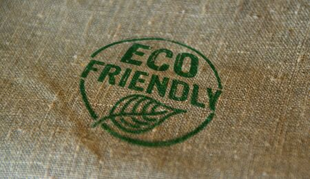 Eco friendly stamp printed on linen sack. Ecology, organic, natural, life style and healthy diet concept. Stockfoto