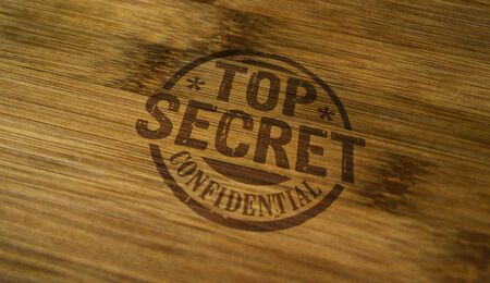 Top secret confidential stamp printed on wooden box. Government, business, legal and non public document concept.