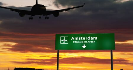 Airplane silhouette landing in Amsterdam, Netherlands, Holland. City arrival with airport direction signboard and sunset in background. Trip and transportation concept 3d illustration.