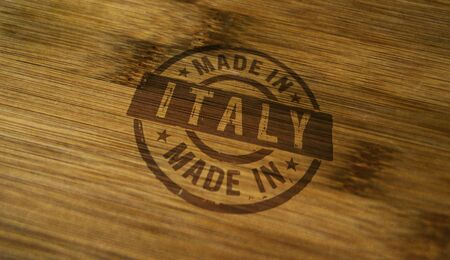 Made in Italy stamp printed on wooden box. Factory, manufacturing and production country concept.