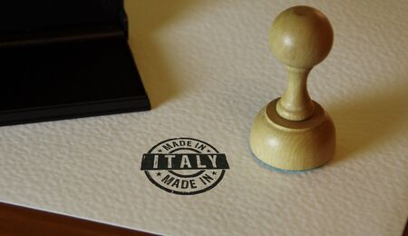 Made in Italy stamp on paper. Factory, manufacturing and production country concept.