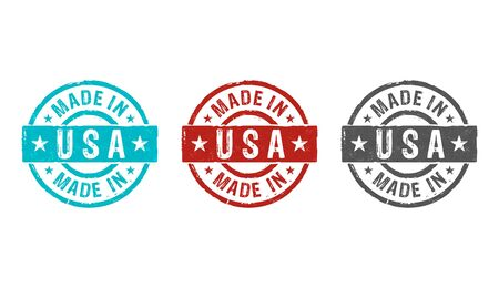 Made in USA stamp icons in few color versions. Factory, manufacturing and production country concept 3D rendering illustration.