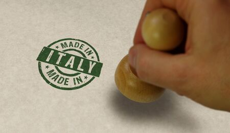 Made in Italy stamp and stamping hand. Factory, manufacturing and production country concept.