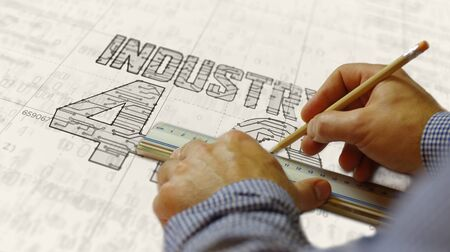 Industry 4.0 sign project creating. Abstract concept of innovation, cyber technology, business, automate factory and robotic production 3d illustration. Drawing digital scheme of futuristic idea. Stockfoto