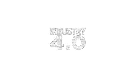 Industry 4.0 sign futuristic 3D rendering illustration. Abstract digital intro background. Concept of innovation, cyber technology, business, automate factory and robotic production.