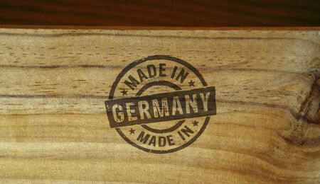 Made in Germany stamp printed on wooden box. Factory, manufacturing and production country concept. Stockfoto