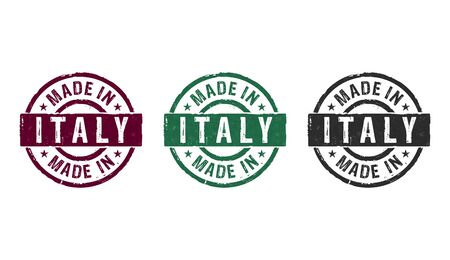Made in Italy stamp icons in few color versions. Factory, manufacturing and production country concept 3D rendering illustration.