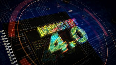 Industry 4.0 sign 3D rendered illustration. Concept of innovation, cyber technology, business, automate factory and robotic production. Abstract digital sign with board and CPU background. Stockfoto