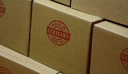 Made in Germany stamp printed on cardboard box. Factory, manufacturing and production country concept.