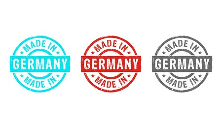 Made in Germany stamp icons in few color versions. Factory, manufacturing and production country concept 3D rendering illustration.