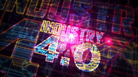 Industry 4.0 sign futuristic 3D rendering illustration. Concept of innovation, cyber technology, business, automate factory and robotic production. Abstract light symbol in deep 3d perspective. Stockfoto