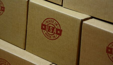 Made in USA stamp printed on cardboard box. Factory, manufacturing and production country concept. Stockfoto