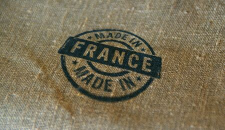 Made in France stamp printed on linen sack. Factory, manufacturing and production country concept.