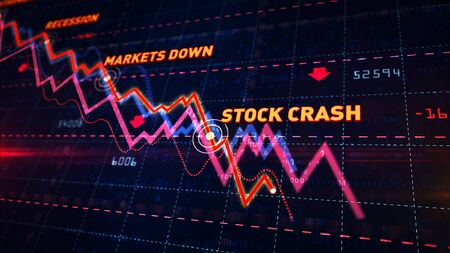 Stock markets down chart on grid background. Abstract concept of financial stagnation, recession, crisis, business crash and economic collapse. Downward trend 3d illustration.