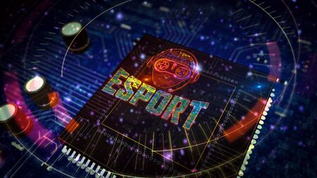 Esport cyber games with gamer symbol project creating. Abstract concept of tournament, play, video gaming and digital sport 3d illustration. Drawing digital scheme of futuristic idea.