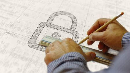 Cyber security with padlock symbol project creating. Abstract concept of internet safety, firewall and computer protection 3d illustration. Drawing digital scheme line of futuristic idea. Stock Photo