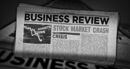 Business review newspapers with market crash printing and disseminating 3d illustration. Economy, crisis, stock, market collapse and financial panic retro media press production abstract concept.