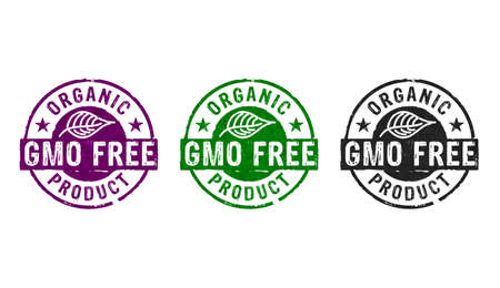 GMO free organic product stamp icons in few color versions. Ecology, natural life style and healthy diet concept 3D rendering illustration.