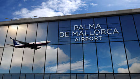 Jet aircraft landing at Palma de Mallorca, Balearic Spain 3D rendering illustration. Arrival in the city with the glass airport terminal and reflection of plane. Travel, tourism and transport concept. Banque d'images