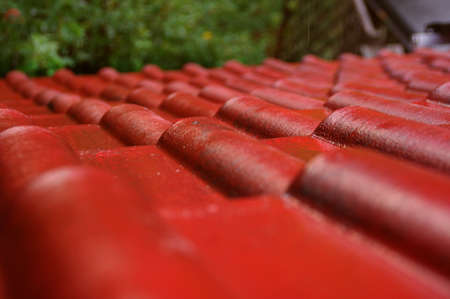 Wet tiles on the roof. Red cover the house during the rain. Reklamní fotografie - 154387909