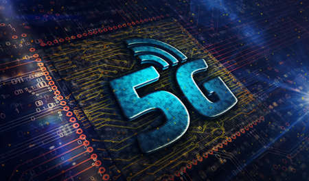 5G mobile communication technology and internet of things metal symbols. Abstract concept 3d rendering illustration. Reklamní fotografie - 154368815