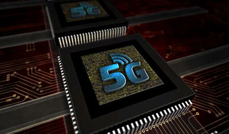 5G mobile communication technology and internet of things metal symbols. Abstract concept 3d rendering illustration. Reklamní fotografie - 154368816